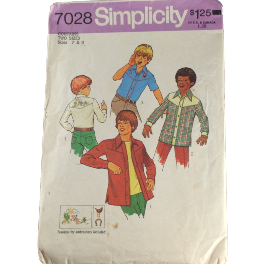 Simplicity 7028 - Boys Shirt - Sizes 7 & 8
