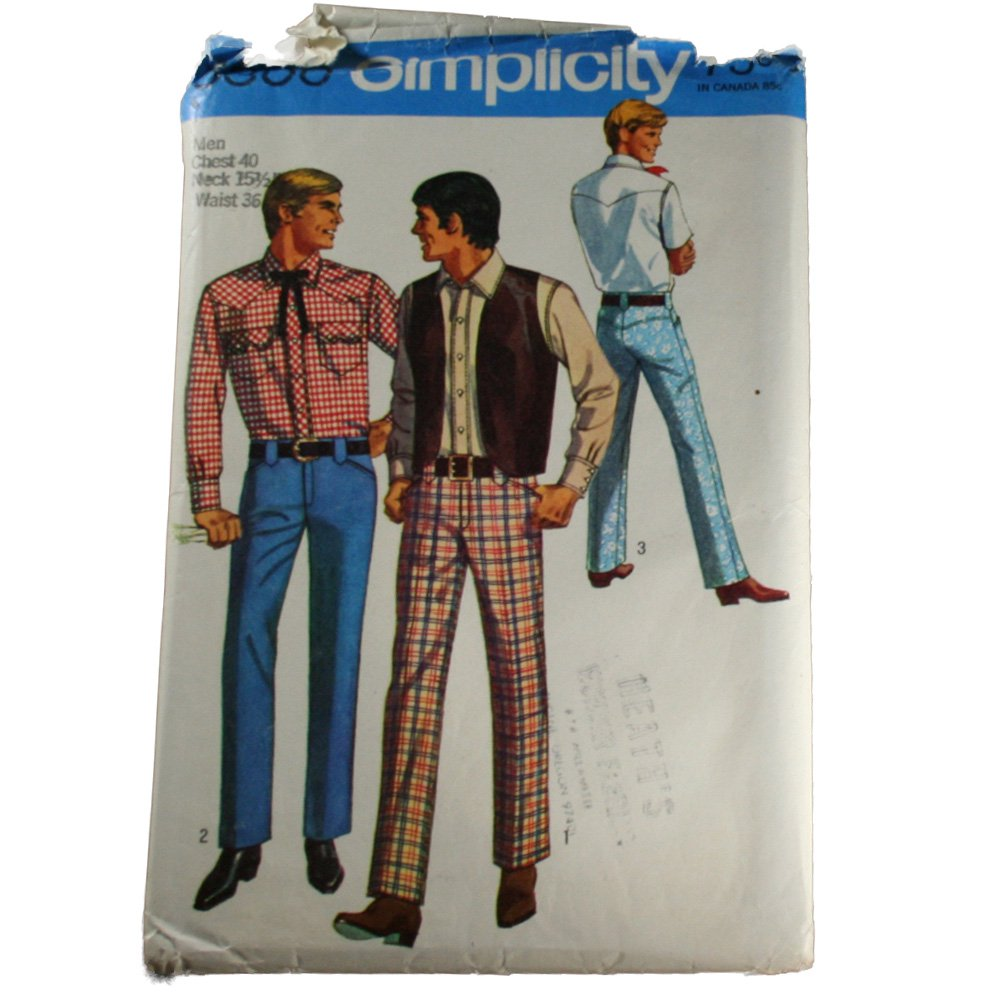 Simplicity 8300 Sewing Pattern Men's Shirt, Vest and Pants Size Chest 40 Neck 15-1/2 Waist 36