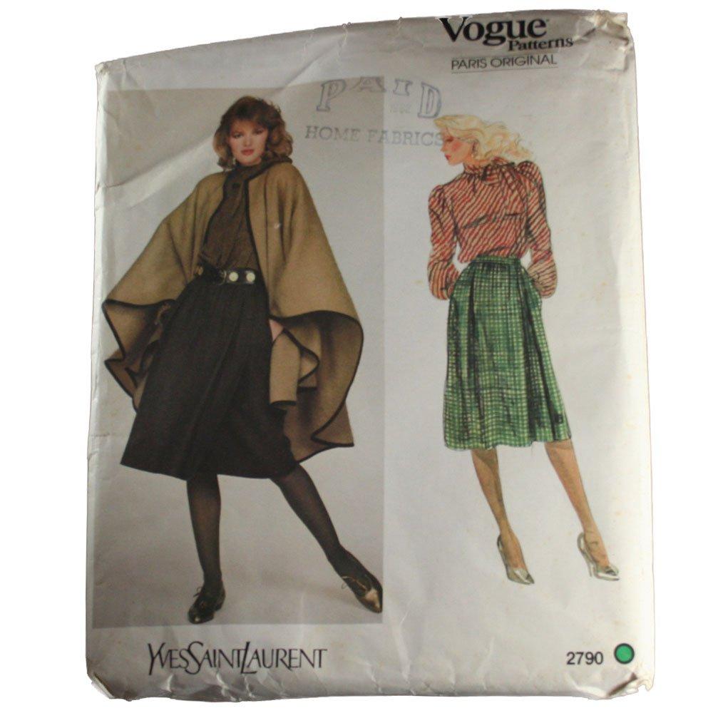Vogue Paris Original 2790 Sewing Pattern Yves Saint Laurent Misses Blouse, Skirt and Cape Size 12