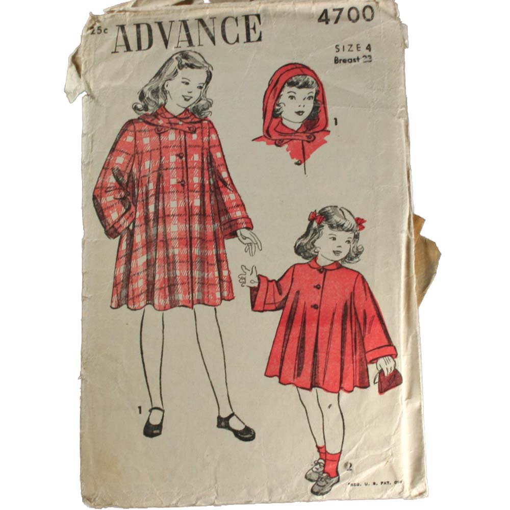 Advance 4700 1950s Girl's Coats With Hoods VINTAGE PATTERN SZ 4