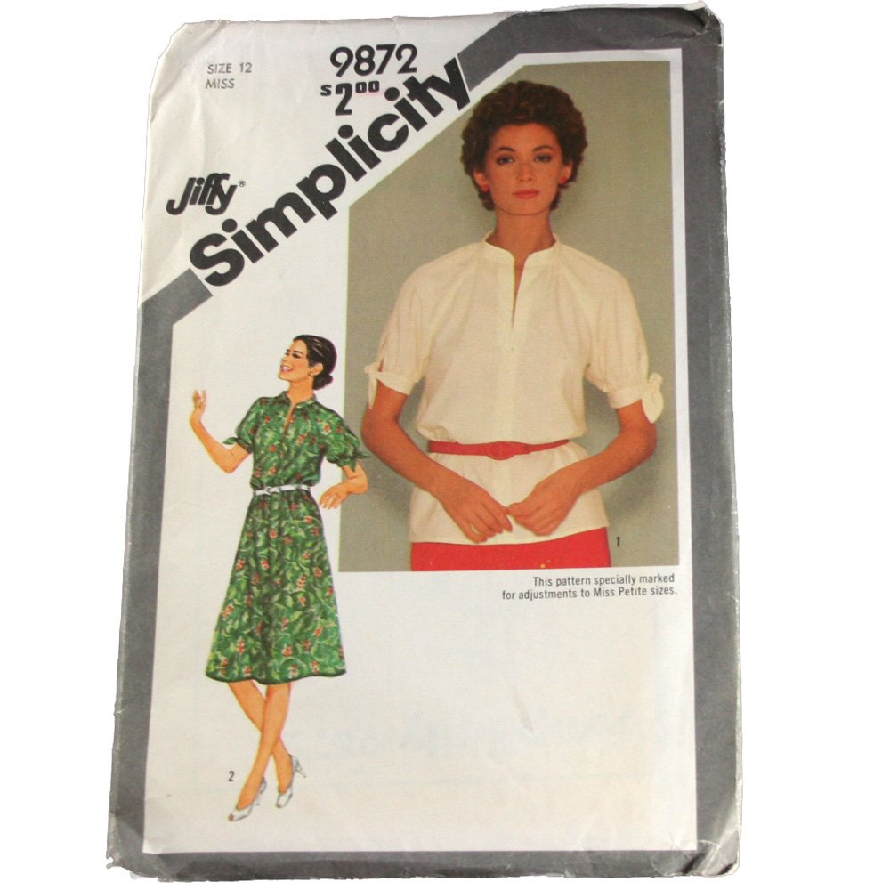Simplicity Sewing Pattern 9872  Misses Jiffy Pullover Dress or Top  Size 12