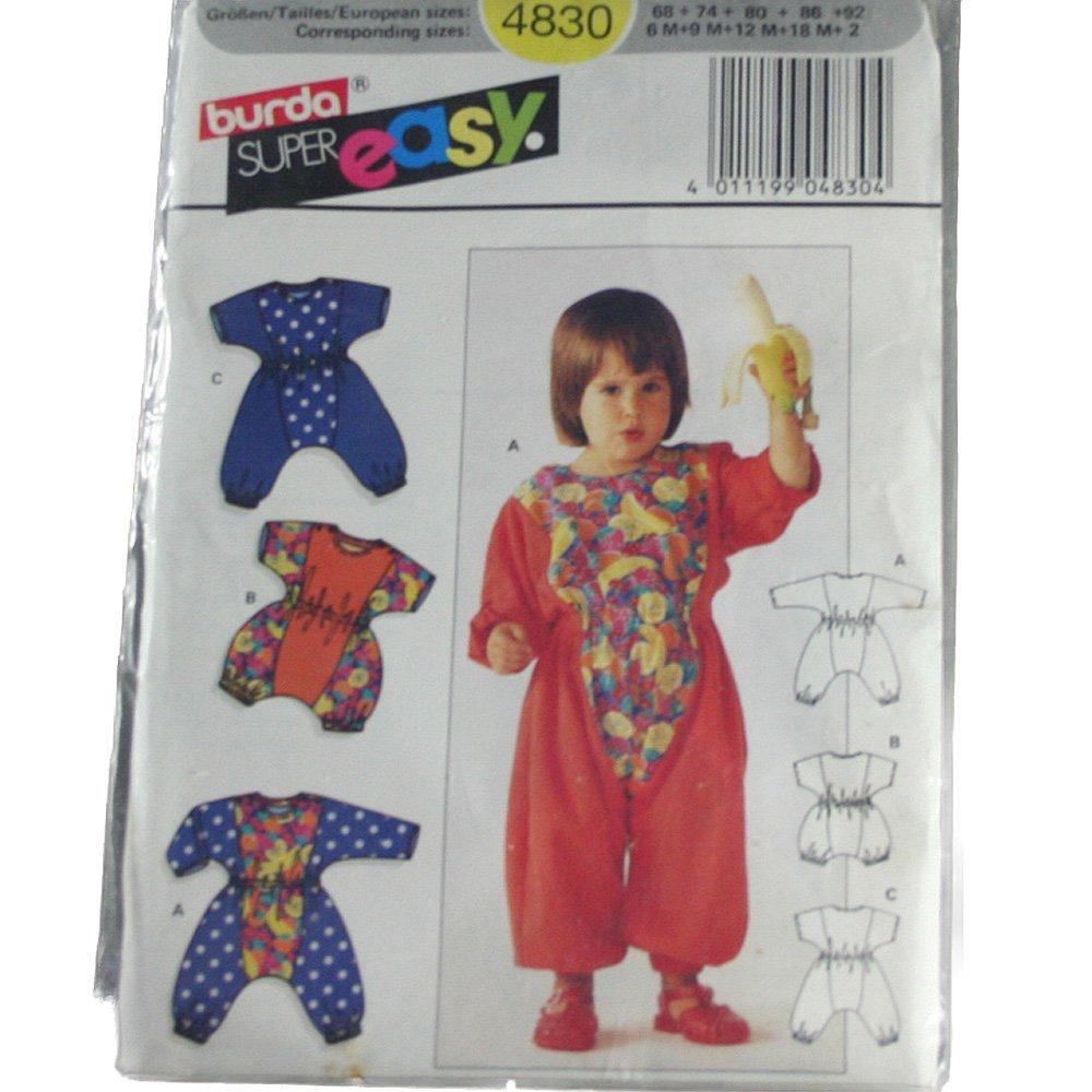 Burda 4830 Sewing Pattern Child's Playsuit Sizes 6M,9M,12M,18M,2