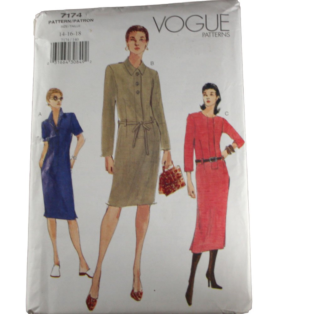 Vogue 7174 Sewing Pattern Misses Dress Size 14,16,18
