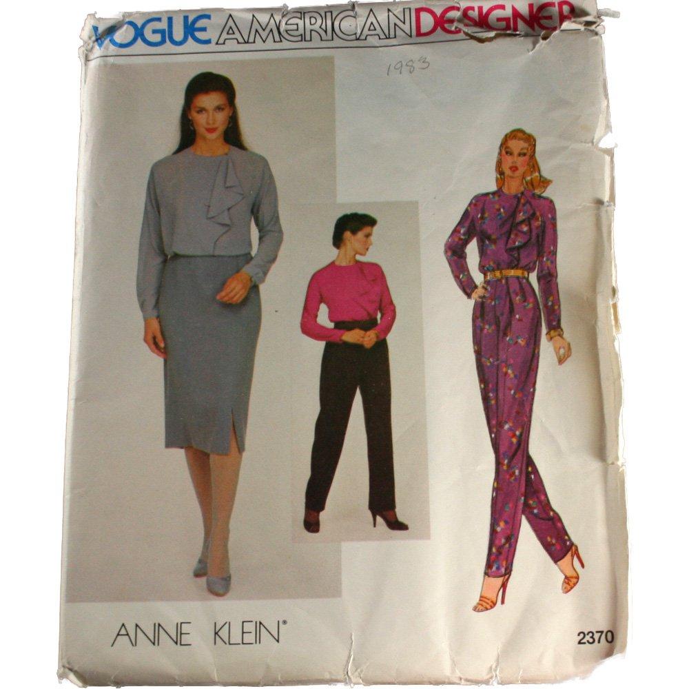 Vogue American Designer Sewing Pattern 2340 Anne Klein Misses Blouse,Skirt,Pants Size 16