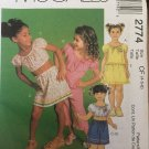 Easy McCall's 2774 Children's and Girls Top, Skirt and Capri Pants and Shorts