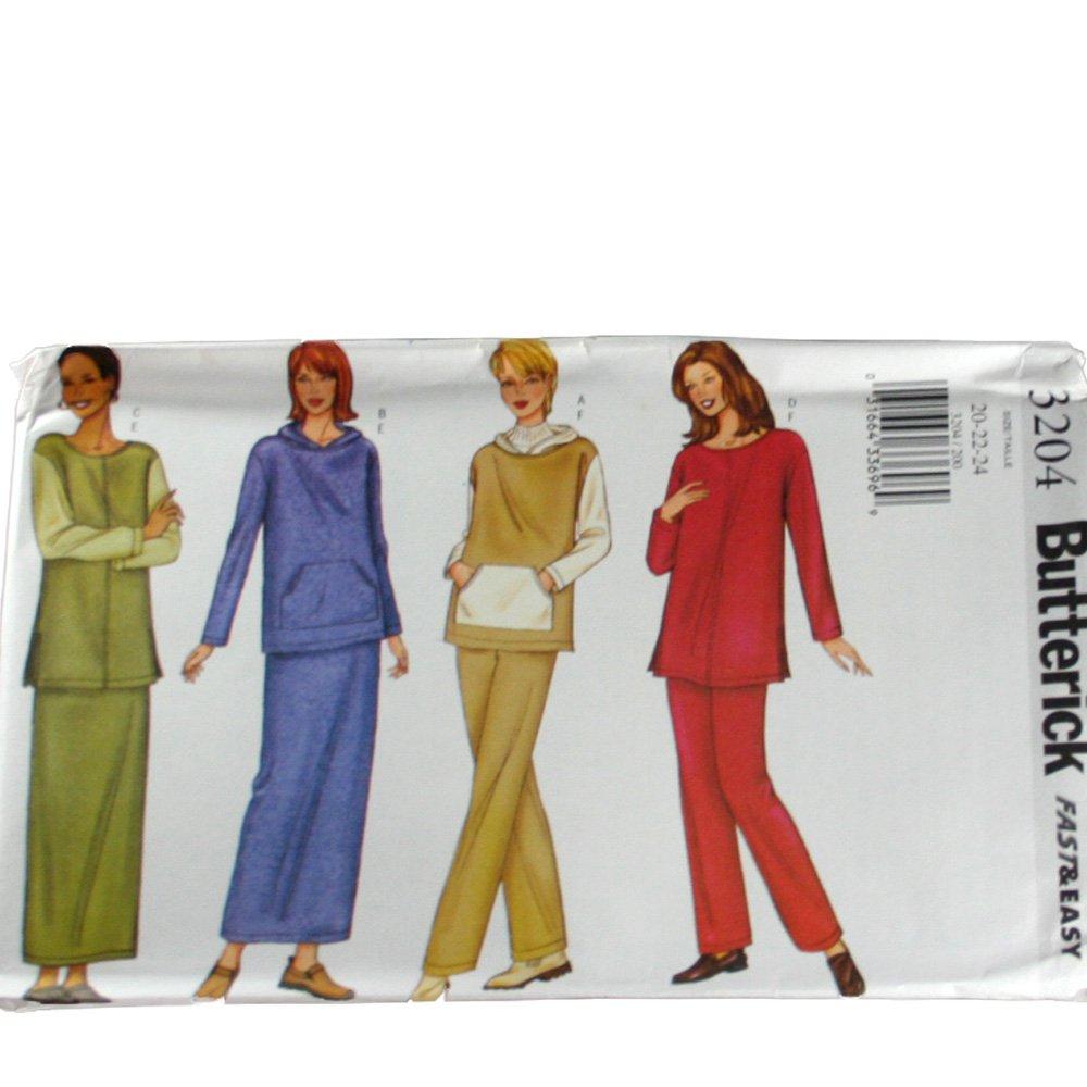 Butterick 3204 Misses Top,Skirt & Pants Size 14,16,18