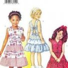 Girls Dress Sewing Pattern Self-Lined Bodice Back Bow Tier Skirt Butterick 3046 Size 2-3-4-5