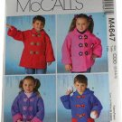 McCall's Sewing Pattern M4647 Girls,Boys Unlined Coats Size CCD 2,3,4,5