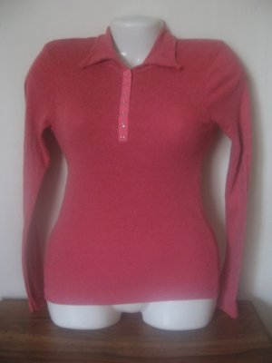 MICHAEL STARS PINK STRETCH POLO SNAP FRONT TOP O/S SEXY