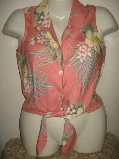 Tommy Bahama Pink Silk Tie Hawian Tropical Top XS