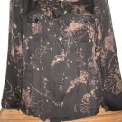 CHICOS BLACK TAN SHEER SILK BUTTON BLOUSE SHIRT SZ 2
