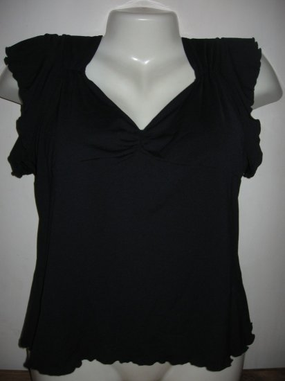 ODILLE BLACK RUFFLE SLEEVE ROUGHED PLUNGE TOP L GR8