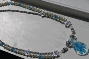 Handmade Blue and Silver Double Strand Necklace