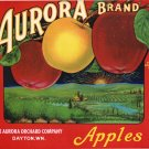 AURORA BRAND APPLE CRATE LABEL - RED