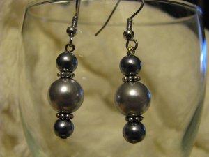 Glass Gray Pearl Bead Dangle Earrings