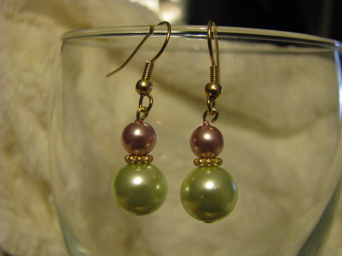 Soft Pink and Green Pearl Glass Bead Earrings