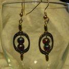Gold Framed Red/Blue/Gold Swirl Bead Earrings