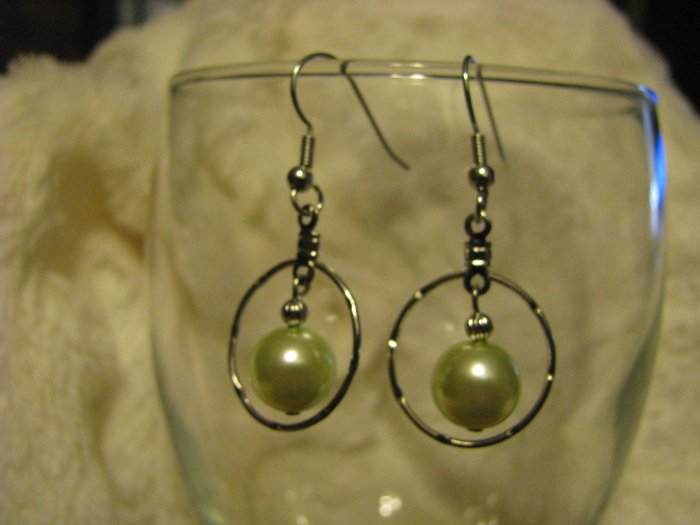 Hoop Earrings with Light Green Glass Pearl Bead