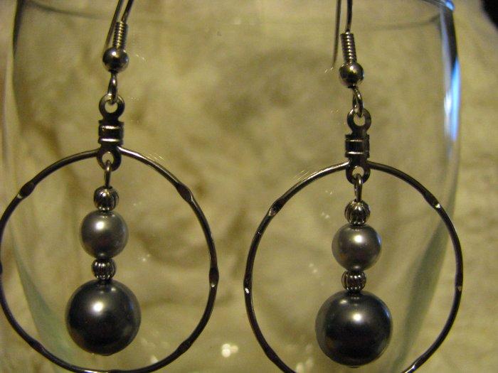 Hoop Earrings with Glass Pearl Dangle