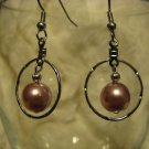 Hoop Earring with Pink Glass Pearl Bead