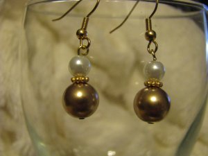 Gold and White Glass Bead  Dangle Earrings