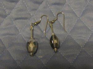 Smokey Clear Faceted Dangle Earrings