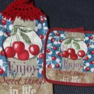 Sweet Things in Life Set of Two Crocheted Top Kitchen towels and Potholder