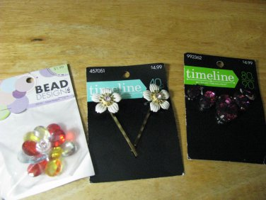 3 pkgs - Flower Hair Pins, Flower , Lace Covered Beads