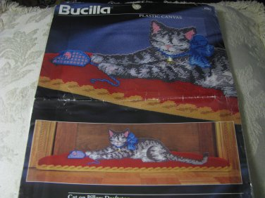 Bucilla Plastic Canvas Cat on Pillow Draftstop pattern