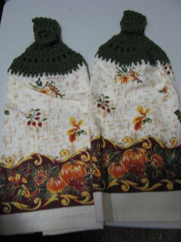 Autumn Bounty- Set of Two  Crochet Kitchen Towel