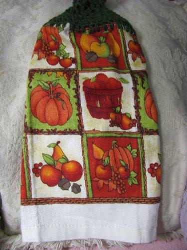 Pumpkin-Harvest-Set-of-Two-Crochet-Kitchen-Towel