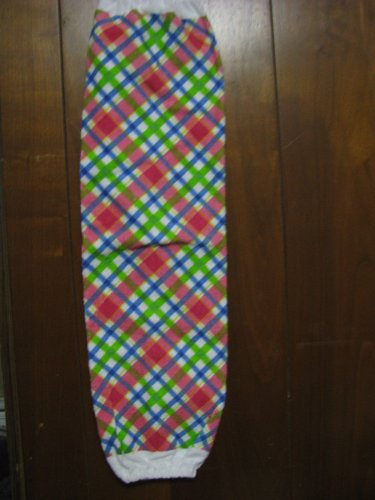 Pink, Blue, Green Plaid  Grocery Bag Holder.