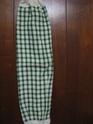 Green and cream Checks Grocery Bag Holder.