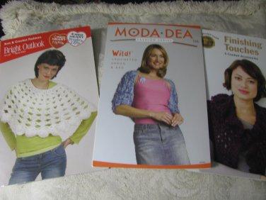 4 Crochet Pamphlets- Sweater,Shrugs, Poncho, Vest,Hat, etc Crochet Patterns