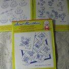 3  Aunt Martha Hot Iron Transfers- Butterflies, Teacups, & Flowers Days of Week patterns.