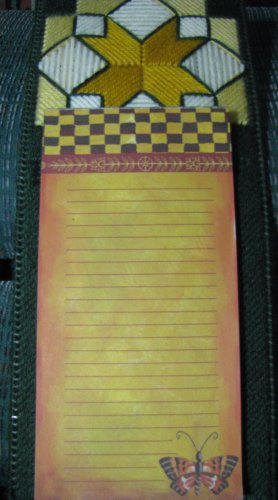 Handmade Notepad Quilt Design done in Sage Green and Yellow, Gold