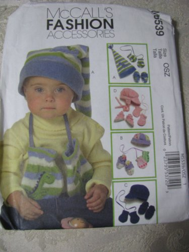 McCall's 5539 OSZ  Infant's/ Toddlers' Hats, Mittens, and Booties