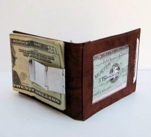 BROWN LEATHER MONEY METAL CLIP Credit ID Wallet Holder
