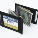 Black Genuine leather DOUBLE MONEY CLIP Note Holder NEW