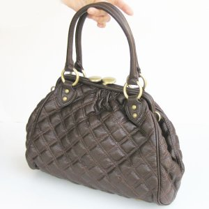 BROWN CELEBRITY QUILTED CHAIN Stam Bag fashion Purse