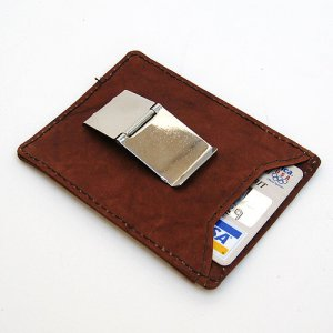 BROWN LEATHER MONEY CLIP Credit Cards ID Wallet Holder