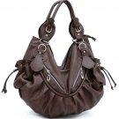Brown Celebrity Designer slouchy Studded handbag bag