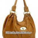 Tan Washed Fashion Lk Buckle Shoulder  Handbag Purse