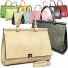 BEIGE Flap Top Ladies Designer Briefcase Handbag Purse
