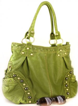 GREEN CELEBRITY WASHED STUDS TALL TOTE PURSE HANDBAG