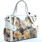 PG Designer leopard floral Inspired Ruffles Handbag Bag