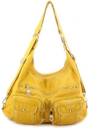 Yellow Washed Pockets Designer Shoulder Handbag Bag