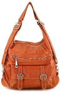 ORANGE DESIGNER WASHED INSPIRED LARGE CELEBRITY PURSE HANDBAG