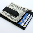 BLACK LEATHER MONEY CLIP Credit ID Wallet Holder BLK.