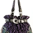 Purple Designer Rhinestone Inspired Faux Leather Zebra Handbag Purse Tote